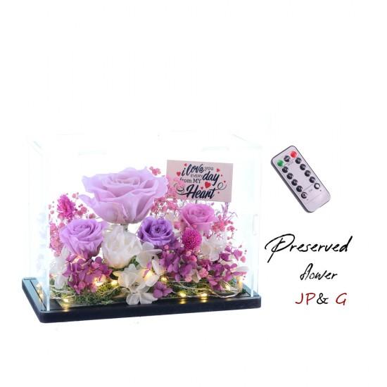 保鮮花+小木牌+USB搖控燈